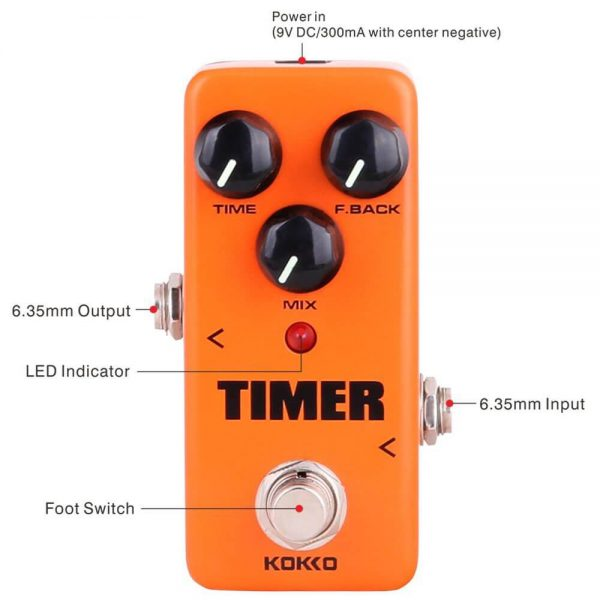 kokko-Guitar Mini Effects Pedal Timer - Digital Delay Effect Sound Processor Portable Accessory for Guitar and Bass-FDD2-si